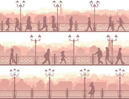 Set of horizontal banners of walking people along downtown street with fence and streetlights. Vector