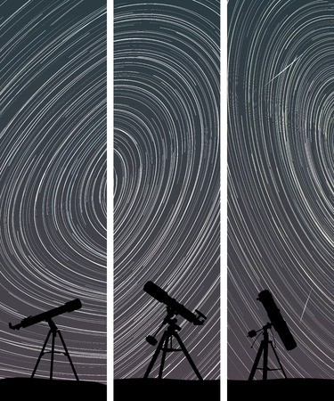 polaris: Set vertical abstract banners of stars trace circles on the sky with telescopes. Illustration