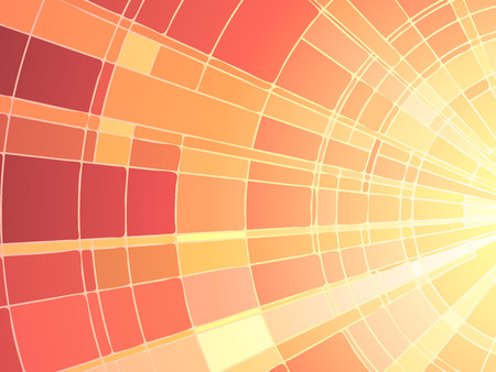 Vector illustration of mosaic sun rays, stained glass window.