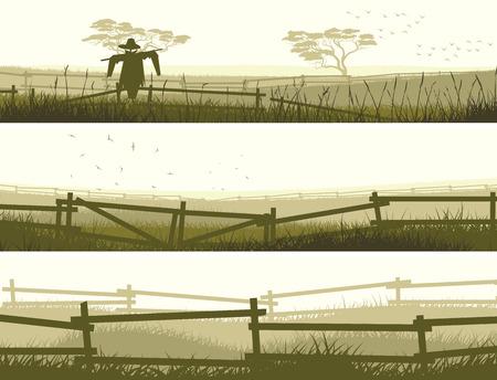 Ensemble de champs agricoles bannière vecteur horizontal avec une clôture. Banque d'images - 27533251