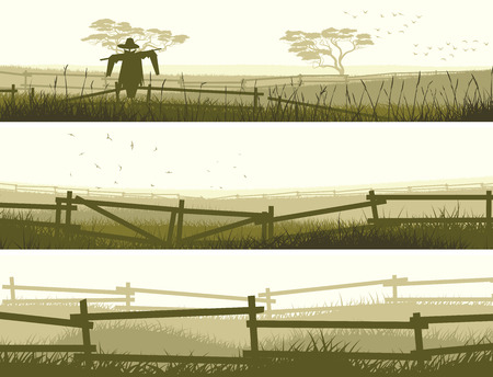 paling: Set of horizontal vector banner farm fields with fence.