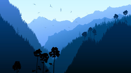 crag: Horizontal illustration mountains coniferous wood in blue tone. Illustration