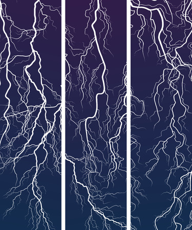 elemental: Set vector vertical banner of thunderstorm lightning in dark at night.
