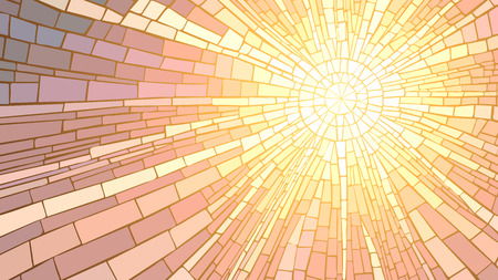 Mosaic vector illustration of sun rays, stained glass window.