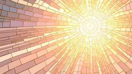 Mozaïek vector illustratie van de zonnestralen, glas in lood raam. Stockfoto - 27532648