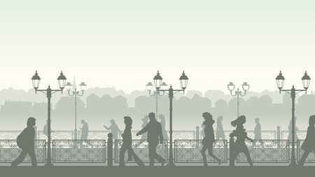 quay: Horizontal illustration of walking people along quay street with fence and streetlights.