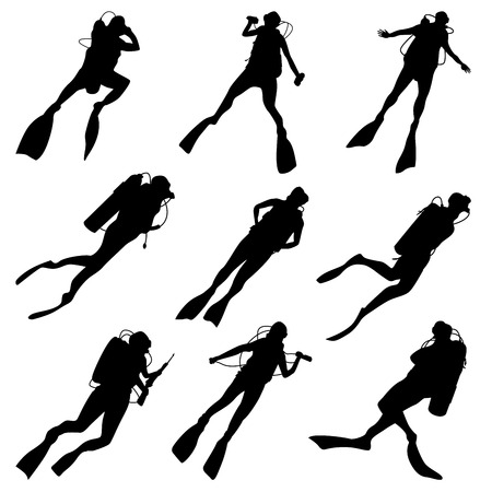 Set of vector silhouettes scuba diving in different poses.