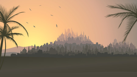 desert scenes: Horizontal vector illustration of ancient Middle Eastern city with mosques at sunset.