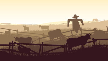 Horizontal vector illustration of grazing animals (cow, horse, sheep) in the farmers fields with fence. Illustration