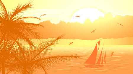 Vector illustration of sunset in ocean with yacht,palm tree, birds and clouds in yellow tone. Illustration