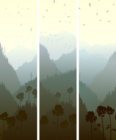crag: Set vector vertical banners of mountains coniferous wood (pine, spruce, cedar).