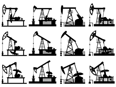 jack pump: Set silhouettes of units for oil industry, oil pump in different positions.