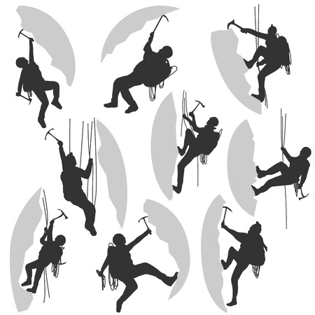 cragsman: Set of vector silhouettes alpinists (climbers) with ice ax in different poses. Illustration