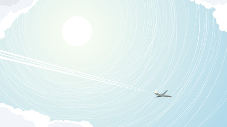 pictured: Vector abstract illustration of plane with trace in blue sky.