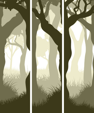 vertical banner: Set vector vertical banners from tree trunks forest view.