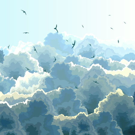 flock of birds: Vector square illustration flock birds on background of blue sky with large clouds.