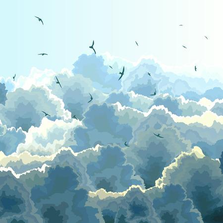zwerm vogels: Vector vierkante illustratie kudde vogels op de achtergrond van blauwe hemel met grote wolken.