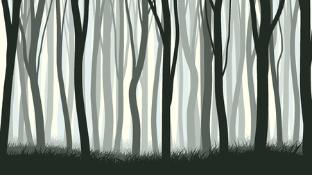 Vector horizontal illustration of many trunks tree with grass.