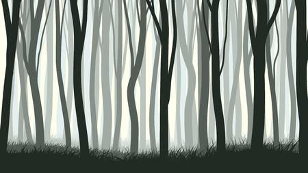 잔디와 많은 트렁크 나무의 벡터 가로 그림.