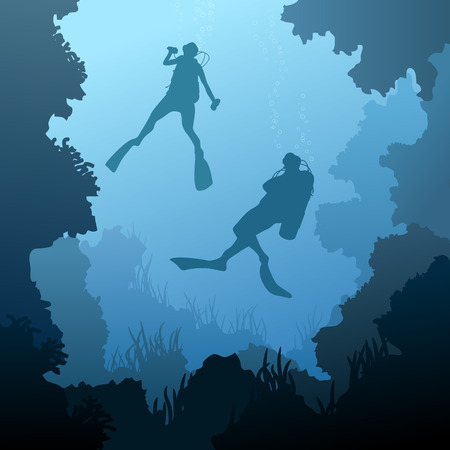 Square illustration of scuba divers under water among coral in cave.