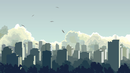 city background: Vector horizontal illustration of big city and skyscrapers with clouds, sky. Illustration
