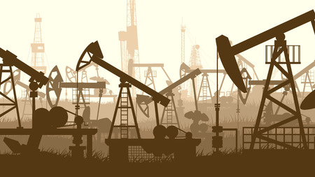 hydrocarbons: Horizontal abstract illustration of large number oil pumping units.