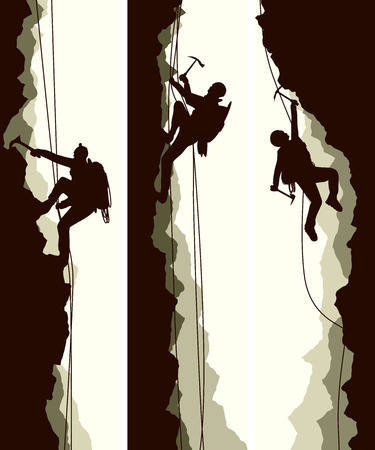 ice climbing: Set vertical abstract banners of alpinists (climbers) with ice ax.
