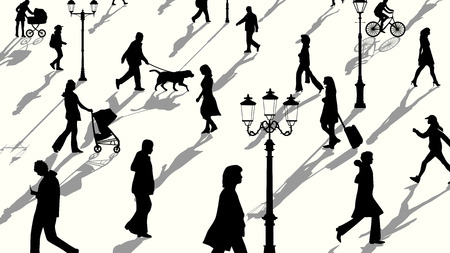 Vector horizontal illustration crowd of people and lampposts silhouettes with shadows. Vector