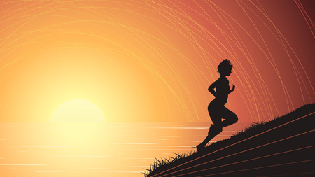 panoramic beach: Vector horizontal illustration of sports woman runs up at sunset above sea from coast. Illustration