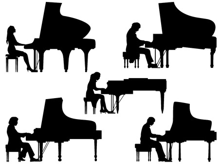Set of vector silhouettes pianist at the piano.