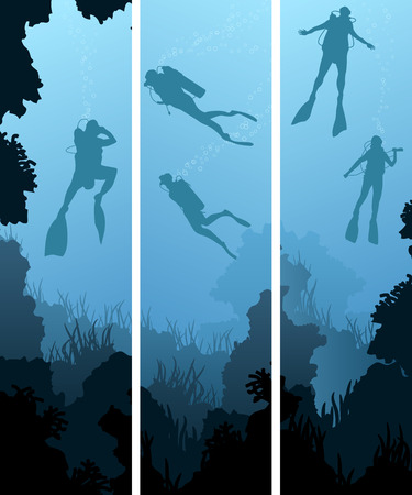 man underwater: Set vertical banners of scuba divers under water among coral in cave.