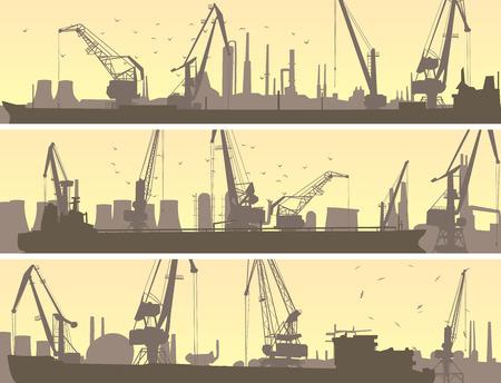 Establecer vector banners horizontales de puerto industrial con grúa torre carga y cisterna. Ilustración de vector
