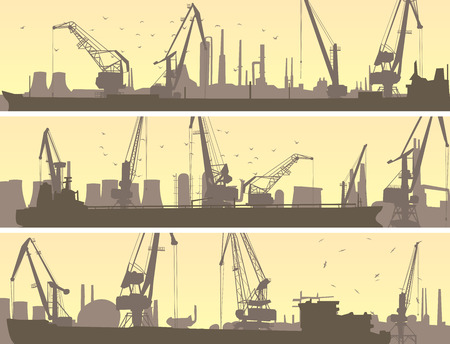 tower crane: Set vector horizontal banners of industrial port with cargo crane tower and tanker.