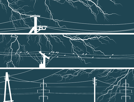 elemental: Set abstract horizontal vector banners of thunderstorm lightning with power line. Illustration