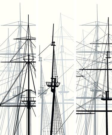 caravelle: Ensemble de bannières vecteur verticales avec des mâts et sailyards de voiliers.