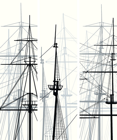 rigging: Set of vertical vector banners with masts and sailyards of sailing ships.