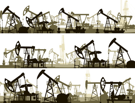 hydrocarbons: Set of horizontal vector banners with large number oil pumping units.