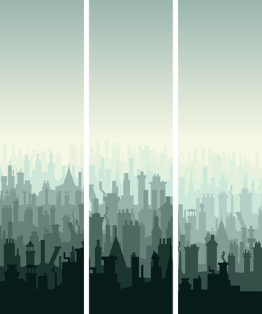 housetop: Vector vertical abstract banners of old historic European city roofs with numerous chimney flues. Illustration