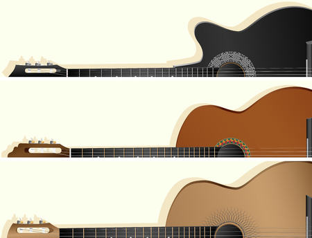 Set of horizontal vector banners with part of western, jazz, flamenco, acoustic guitar. Illustration