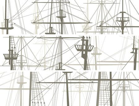 돛대 범선의 sailyards 수평 벡터 배너의 집합입니다. 일러스트