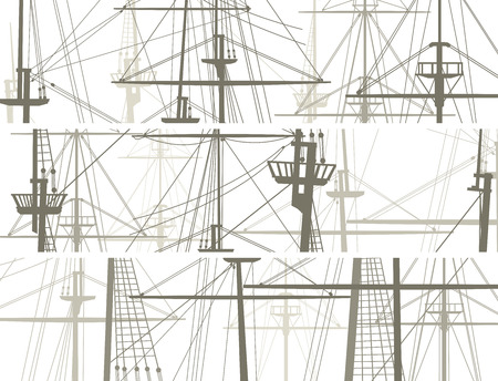 keel: Set of horizontal vector banners with masts and sailyards of sailing ships.