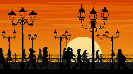 Horizontal illustration of walking people along sunset seafront street with fence and streetlights.