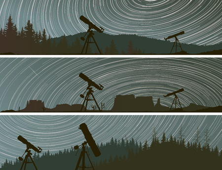 stargazing: Set horizontal banners of stars trace circles on the sky with telescopes and forest.