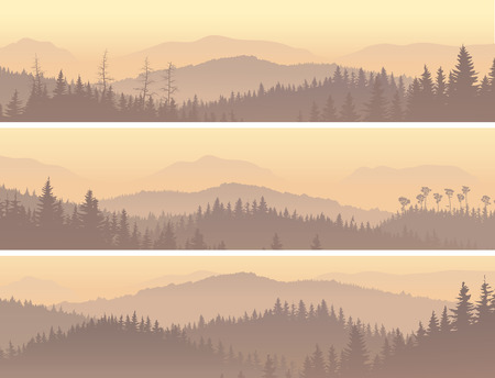 Set horizontal banners of wild coniferous forest in morning fog. Vector