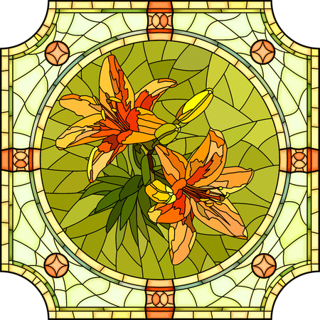 Vector mosaic of brightly orange lilies with buds in round stained-glass window frame.