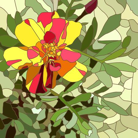 cempasuchil: Resumen de vectores de mosaico con grandes c�lulas de marigold rojo brillante.