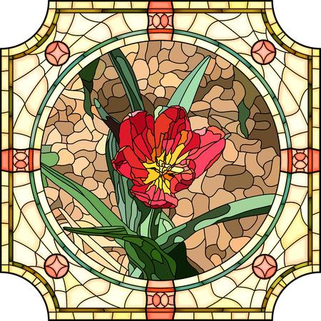 ベクトルのモザイクで鮮やかな赤チューリップのステンド グラスの窓のフレームをラウンドします。  イラスト・ベクター素材