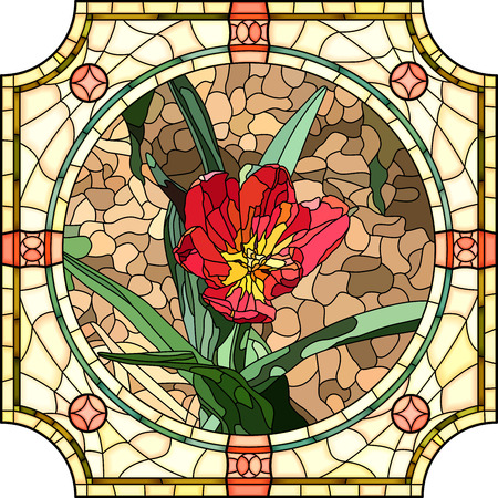 Vector mosaic of brightly red tulip in round stained-glass window frame. Çizim