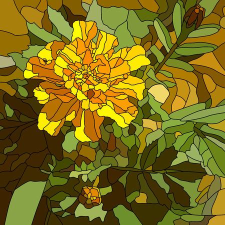 cempasuchil: Resumen de vectores de mosaico con grandes c�lulas de brillantes maravilla amarilla. Vectores