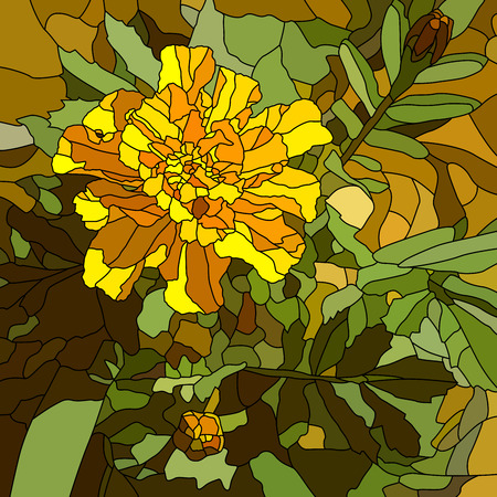 Vector abstract mosaic with large cells of brightly yellow marigold. Vector